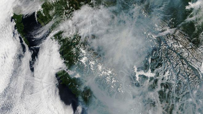 État d'urgence décrété dans la totalité de la province canadienne de la Colombie-Britannique où des incendies de forêt font rage