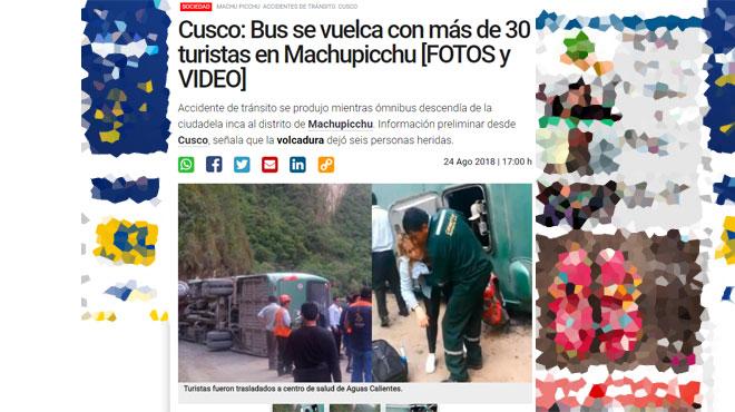 Un car de touristes fait une embardée et se retourne en descendant du Machu Picchu: 10 blessés