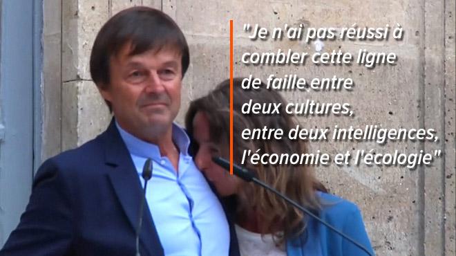 Nicolas Hulot s'interrompt, en larmes, lors de son discours de départ