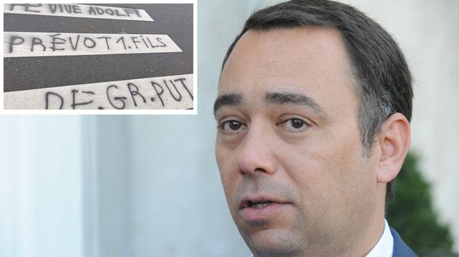 Un tag insultant pour Maxime Prévot et faisant l'apologie du nazisme sur un passage piéton
