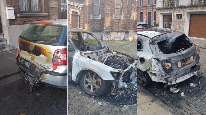 Cinq véhicules incendiés à Charleroi en trois jours