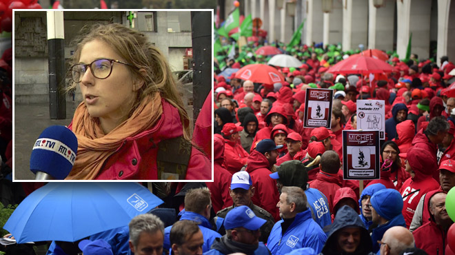 Cette jeune syndicaliste a rencontré des ministres lors de la manifestation: