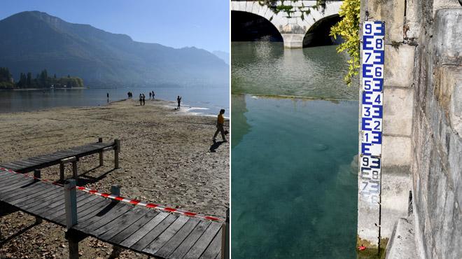 En Haute Savoie, le Lac d'Annecy a perdu 70 cm: les gens peuvent marcher en plein milieu (vidéo)