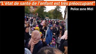 Anderlecht- manifestation devant une école après la chute d'un enfant dans un étang 4