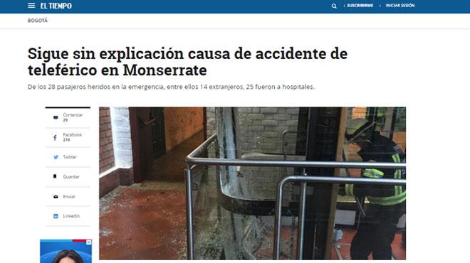 28 personnes, dont des Belges, blessées dans un accident de téléphérique en Colombie