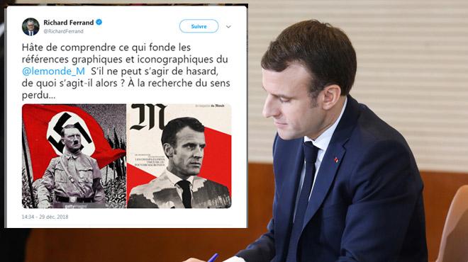 La Une polémique d'un magazine en France: Macron présenté aux couleurs du drapeau nazi