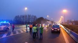 L'autoroute vers la France entièrement bloquée à Rekkem par les syndicats du transport