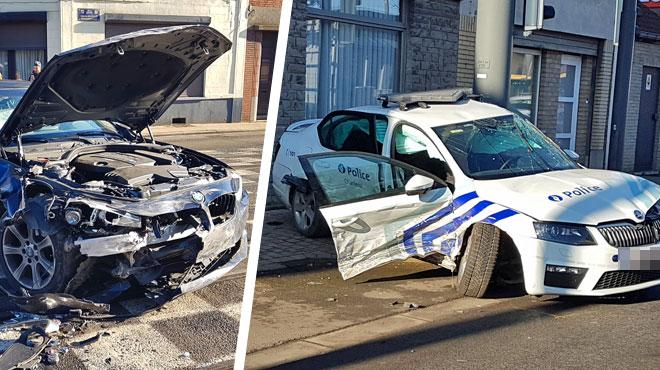 Une voiture de police en intervention projetée violemment contre un poteau à Charleroi: 3 policiers et un conducteur blessés