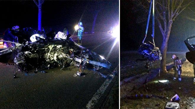 Grave accident à Thirimont: une voiture s'ouvre en deux après avoir percuté un arbre