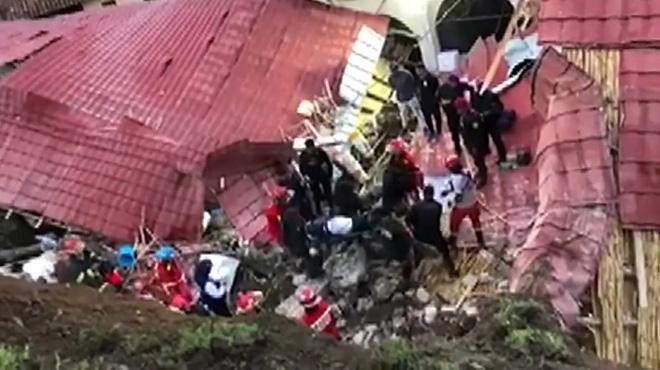 Un torrent de pierres et de boue s'abat sur un hôtel lors d'un mariage au Pérou: au moins 15 personnes sont décédées