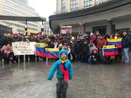 Manifestation à Bruxelles en soutien au président vénézuélien autoproclamé Juan Guaidó