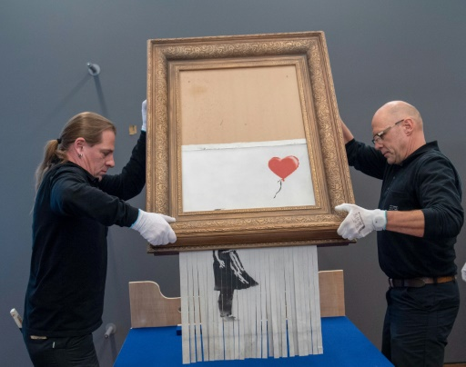 Allemagne: la broyeuse cachée dans la toile autodétruite de Banksy