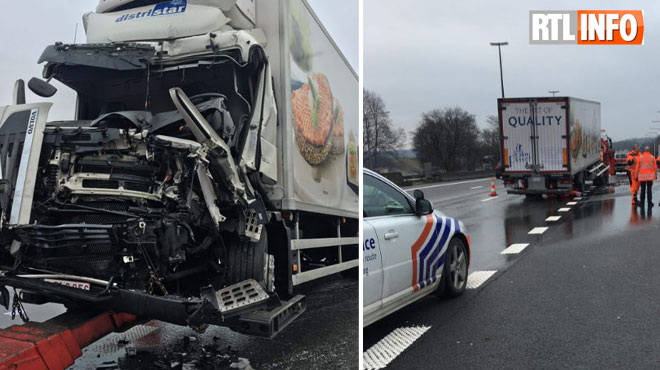 Accident impliquant deux camions sur l'E19 à Thieu: l'un des conducteurs a dû être désincarcéré