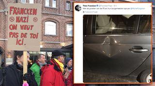 Face à l'hostilité des manifestants à Verviers, Theo Francken s'en va sans présenter son livre, mais avec sa voiture abîmée 2