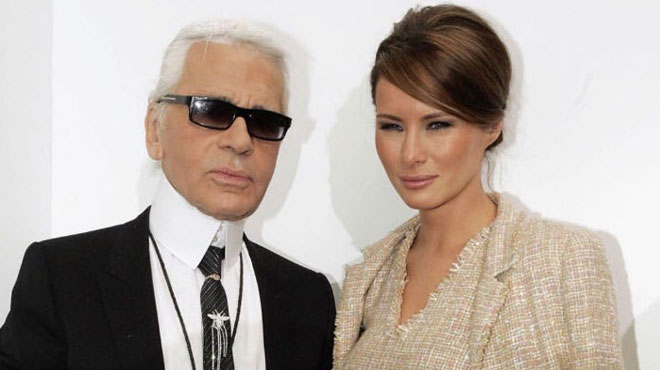 Melania Trump salue en Karl Lagerfeld un