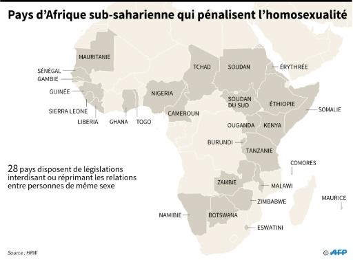 En Afrique sub-saharienne, l'homosexualité est largement criminalisée