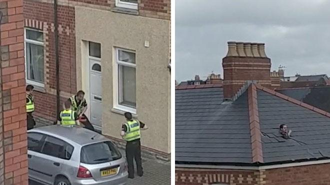 Ce suspect prend la fuite par le toit en DÉMONTANT les tuiles (vidéo)