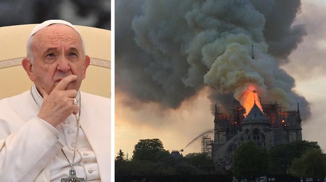 Un symbole de la capitale française part en fumée: le pape François se dit