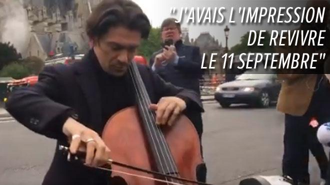 Impuissant face à la catastrophe, il joue du violoncelle devant Notre-Dame pour apaiser les coeurs (vidéo)
