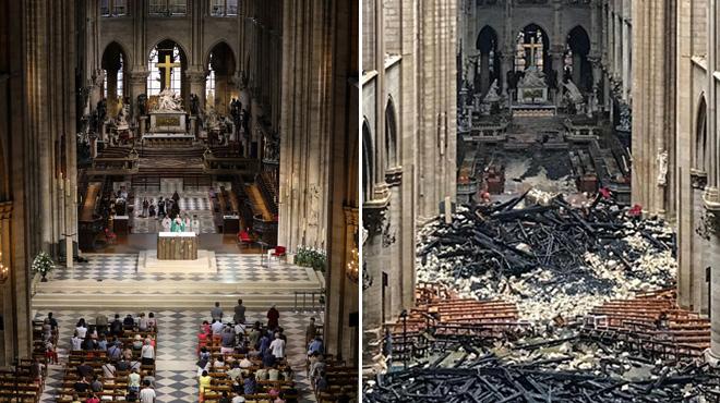 Notre-Dame de Paris: l'avant/après de l'intérieur de la cathédrale (photos)