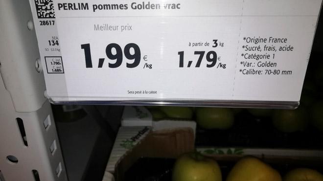 Eric s'interroge au Colruyt: pourquoi les pommes de France sont-elles en vrac et les pommes belges emballées?
