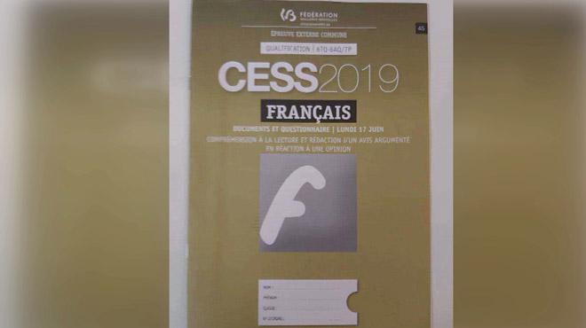 Fuite de l'épreuve de français du CESS: pas d'annulation car elle a eu