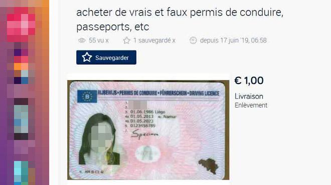 Une annonce propose de faux billets, passeports et permis sur 2ememain: