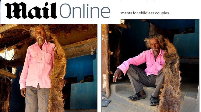 Cet Indien n'a plus lavé ni coupé ses cheveux depuis 40 ans et les appelle une