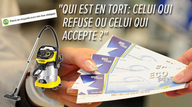 Cédric s'étonne: pourquoi un même aspirateur peut être acheté avec des éco-chèques dans un magasin, mais pas dans l'autre?