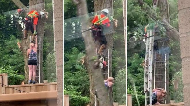 Elle veut aider un bûcheron à récupérer une tronçonneuse bloquée dans un arbre: c'est la CATASTROPHE (vidéo)