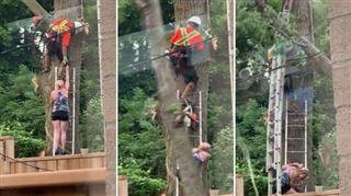 Elle veut aider un bûcheron à récupérer une tronçonneuse bloquée dans un arbre- c'est la CATASTROPHE (vidéo) 5