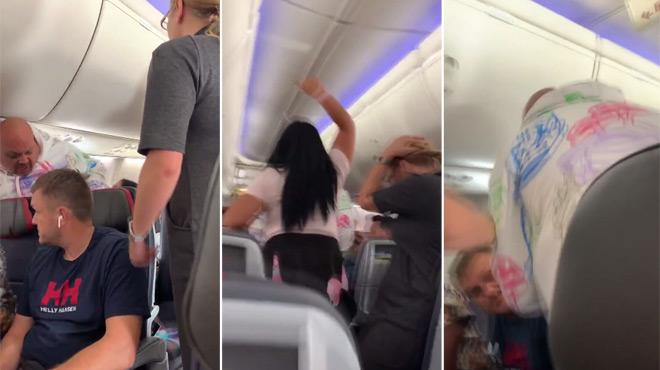Scène de ménage violente à bord d'un avion: une femme jalouse FRAPPE son mari qui en aurait regardé une autre