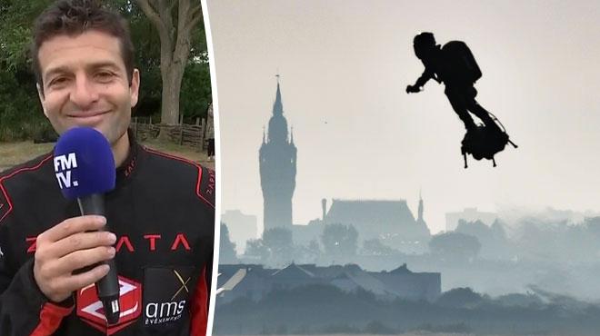 Franky Zapata réussit son pari en traversant la Manche à bord de sa machine volante