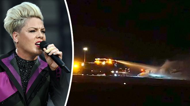 L'avion privé de l'équipe de tournée de Pink atterrit d'urgence au Danemark et PREND FEU