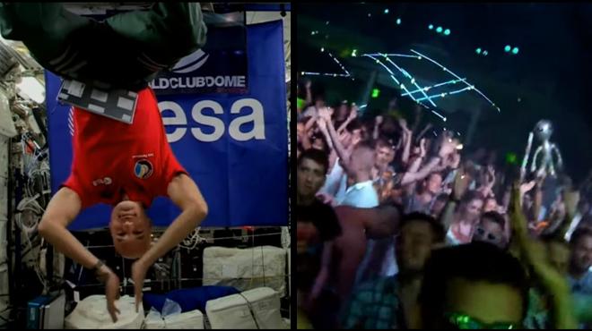 Le DJ de cette soirée à Ibiza mixe depuis l'espace: