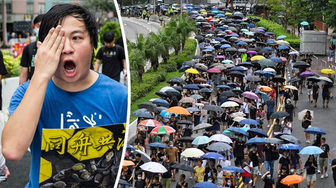C'est l'heure du grand test à Hong Kong: des milliers de manifestants bravent la pluie pour s'opposer à la domination chinoise