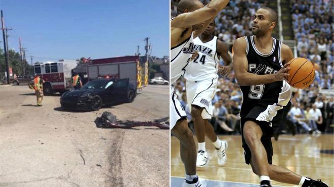 Tony Parker impliqué dans un accident aux Etats-Unis: il ne reste presque plus rien de sa Porsche (photos)
