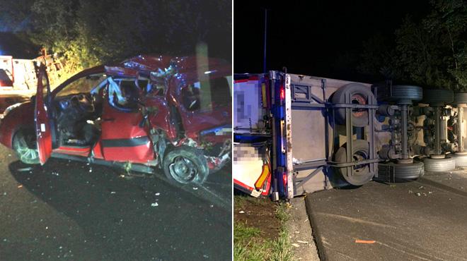 Impressionnante collision entre une voiture et un camion sur l'A54 à Luttre: le poids lourd s'est retrouvé en travers de la route
