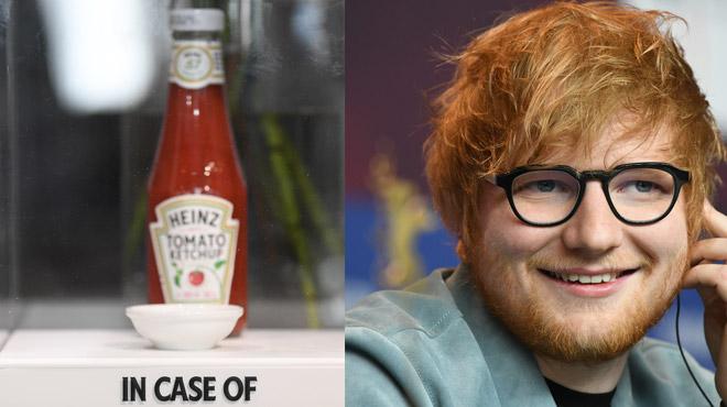 Pourquoi la ville d'où Ed Sheeran est originaire garde toujours une bouteille de Ketchup dans une boîte en plexiglas?