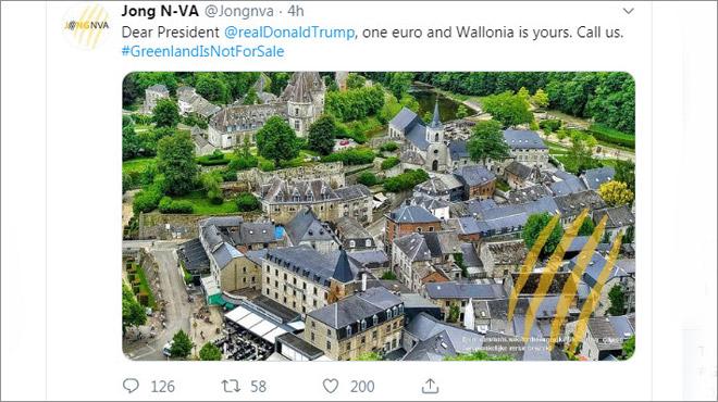 Les jeunes N-VA proposent à Trump de racheter la Wallonie pour un euro: