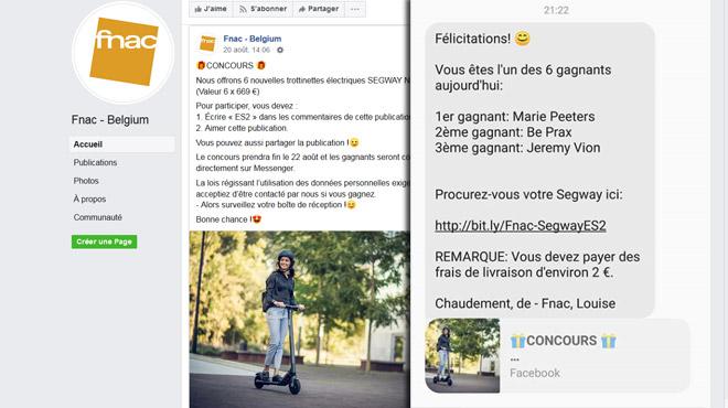 Un faux concours Fnac pour des trottinettes circule sur Facebook: