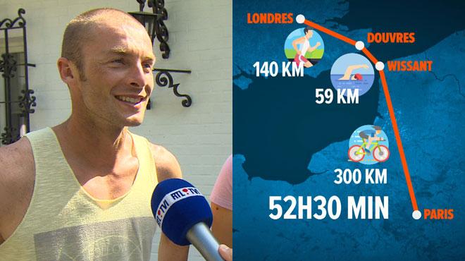 Le triathlète belge Julien Deneyer, qui a relié Londres à Paris en un temps record, se confie à RTL INFO