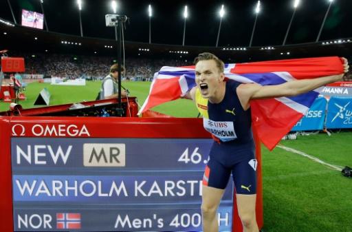 Athlétisme: 2e meilleur chrono de l'histoire pour Warholm sur 400 m haies