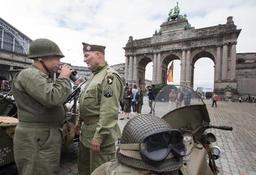 Arrivée de la Colonne de la Libération au Cinquantenaire à Bruxelles