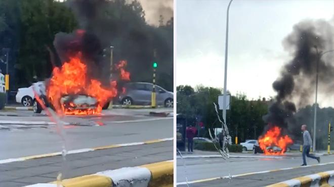 Une voiture en fumée quitte le Ring de Bruxelles et termine entièrement carbonisée