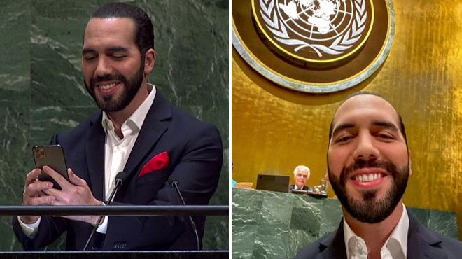 À la tribune des Nations Unies, le président du Salvador... fait un SELFIE avant son discours