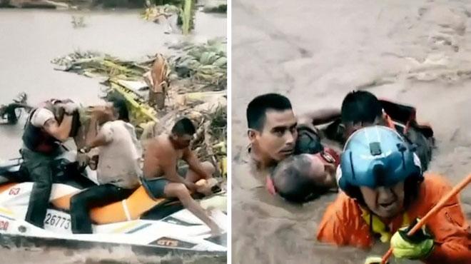 Mexique: sauvetage en hélicoptère de 4 personnes prises au piège des crues dues à la tempête Narda