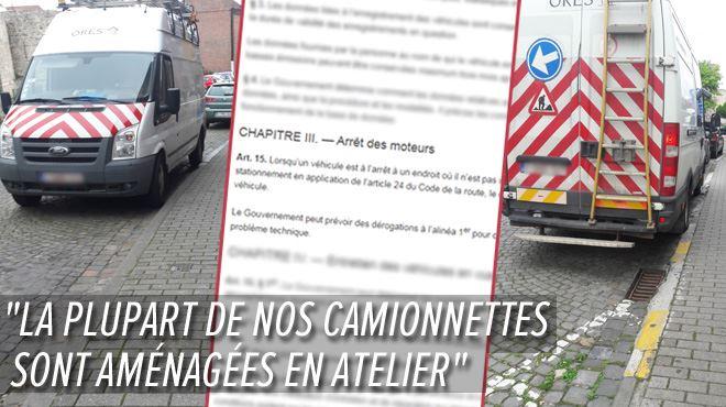 Thierry constate que deux camionnettes Ores restent 30 minutes, moteur allumé, à ne rien faire- On l'interdit aux automobilistes !