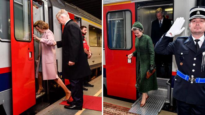 Elle monte en rose et descend en vert: la reine Mathilde a réussi à se changer dans le train en marche