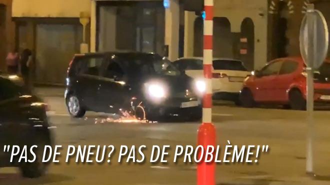 Marcinelle: Clément filme une voiture en train de rouler... sur une jante!
